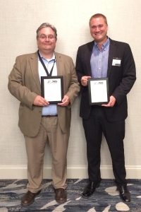Mike Filoni & Cliff Grunstra accept Marketing Awards from Norfolk Southern, May 2017