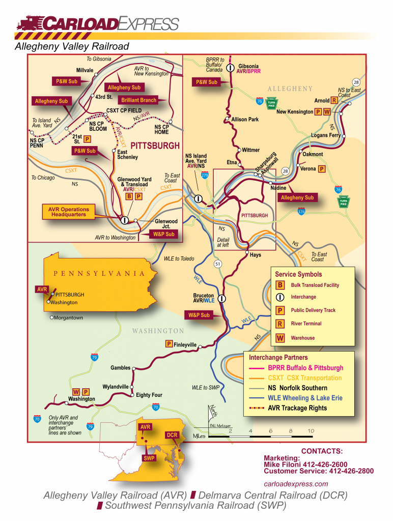 Allegheny Valley Railroad Company System Map
